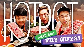 SPICY A5 Wagyu Beef HOTPOT With The TRY GUYS! NOODLE DANCE in Los Angeles