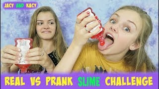 Real vs Prank Slime Challenge ~ Jacy and Kacy