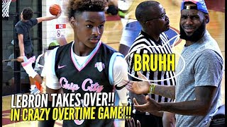 LeBron James TAKES OVER As Coach & Gets INTO it w/ REF!! Bronny & Blue Chips CRAZY OT GAME!!