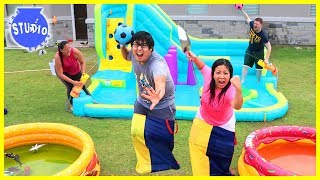 Slime Pools Giant Water Bouncer Obstacle Course with Water Balloons