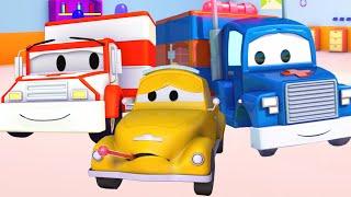 Carl der Transformer Truck und Der Krankenwagen in Autopolis | Auto und Lastwagen Bau Cartoons