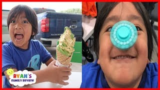Real Gold Ice Cream + Fidget Spinners Trick On Nose with Ryan