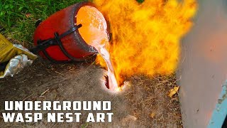 Casting GIANT Underground Wasp Nest with Molten Aluminum