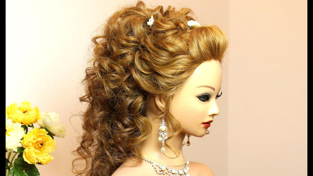 Вечерние прически на кудрявые волосы средней длины фото