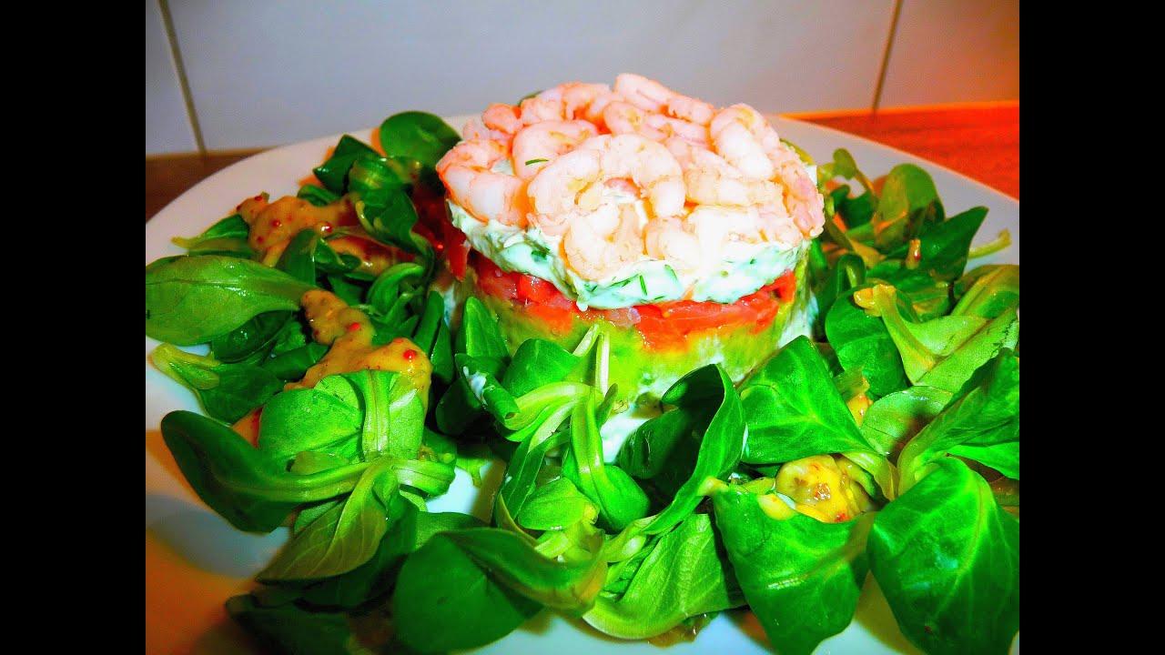 Салат из авокадо креветок и красной рыбы