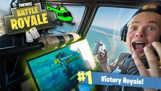 I WON a Game of FORTNITE in a HELICOPTER! (1000ft in the SKY)