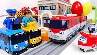 I'm best train Titipo~! Talking traffic center play with Tayo, Super Wings  - PinkPopTOY
