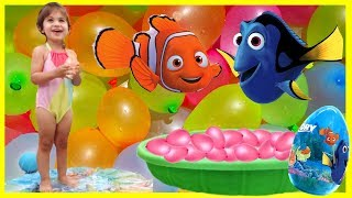 Family Fun Water Balloon Pool Party with Dory and Nemo! Learning Colors and EGG SURPRISE!