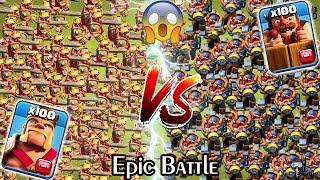 100 KING vs 100 Battle Machine Clash of Clans Gameplay | Max Barbarian king vs Max Battle Machine