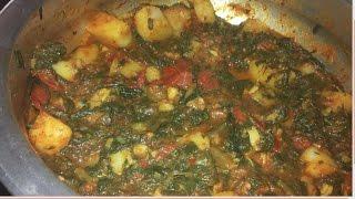 [5minutes] Aaloo Palak recipe - Aloo Palak Sookhi Sabzi - Aloo Palak Saag
