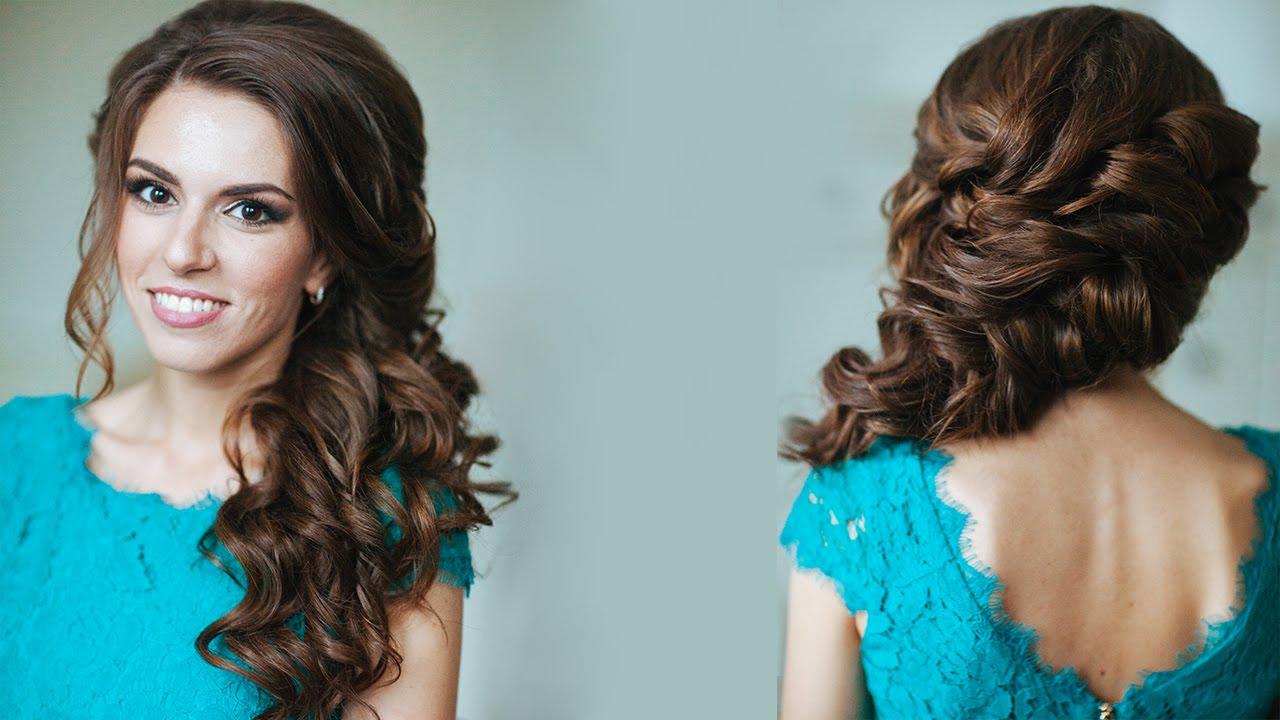 Прическа коса на бок с локонами