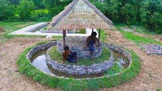 Build Hut in Stone Fish Pond