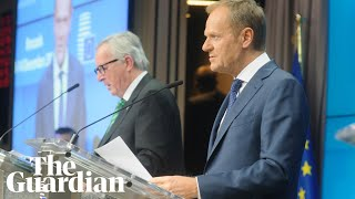 Donald Tusk and Jean-Claude Juncker speak after EU summit - watch live