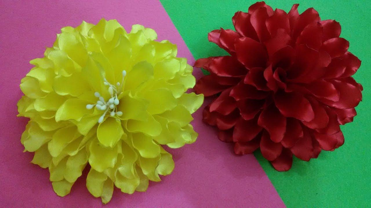 Как из лент сделать цветы канзаши тюльпан георгин