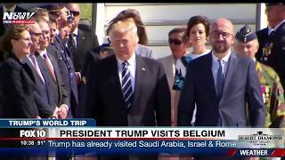 MUST WATCH: President Trump and First Lady Melania Arrive in Brussels, Belgium on Air Force One