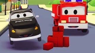 Der Streifenwagen mit dem Polizeiauto : Das Geheimnis der Ziegelsteine auf der Strasse in Autopolis