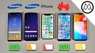 Samsung Note 9 vs S9+ / iPhone X / OnePlus 6 Battery Life DRAIN TEST