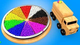 Learn Colors for Children with Wooden Color Wheel Educational Toys for Kids Toddlers Wooden Truck
