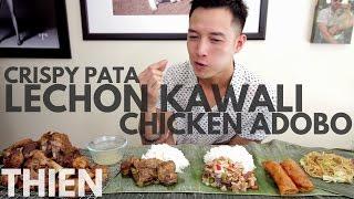 [MUKbang with THIEN]: Filipino Crispy Pata, Sisig, Lechon Kawali, and Chicken Adobo