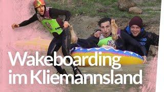 Wakeboard fahren im Teich - WINCH Test   Kliemannsland
