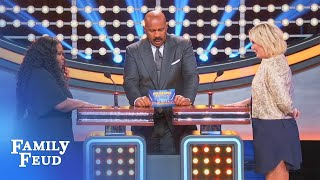 Amber Riley & Tori Spelling Face Off! | Celebrity Family Feud