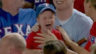 Crying Rangers Fan Loses Foul Ball to Adults   Good Morning America   ABC News