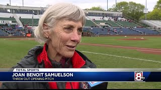 Joan Benoit Samuelson throws out first pitch at Sea Dogs game
