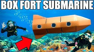 24 HOUR BOX FORT SUBMARINE CHALLENGE!! 📦💦 Scuba Tanks, Onboard Oxygen & More!