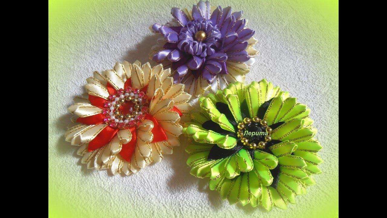 Цветы из узких лент