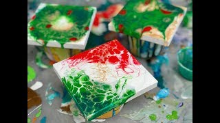 Acrylic Pour Painting: MORE Great Gift Ideas Tiny Arteza Canvases Christmas Colors