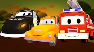 Der Streifenwagen : Tom und Sohn in Schwierigkeiten in Autopolis | Autos und Lastwagen Kinder