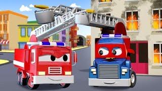 Carl der Transformer Truck und das Feuerwehrauto in Car City| Auto und Lastwagen Bau Cartoons