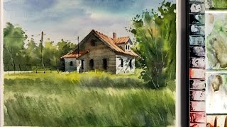 Watercolor Landscape Painting :  litter house in the Meadow