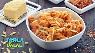 Pasta In Red Sauce, Recipe in Hindi (पास्ता इन रेड सॉस) by Tarla Dalal