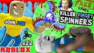 KILLER FIDGET SPINNERS ROBLOX!  John Doe Fidget Toe Oreos Surfin Bros (FGTEEV FAKE ROBLOX GAMES #22)