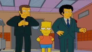 Homer and Bart  in the mob