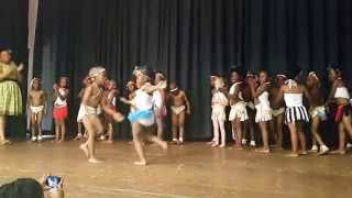 My daughter doing a traditional Tswana dance with her friends.