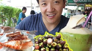 Thai STREET FOOD Tour of Or Tor Kor Market in Bangkok Thailand!