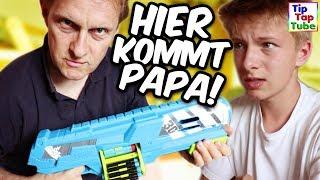 Das große NERF GUN Chaos! Jetzt kommt Papa! TipTapTube