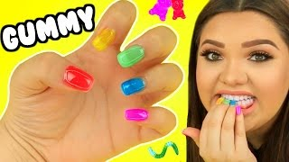 DIY GUMMY EDIBLE NAILS! Gummy Bears, Gummy worms, & More!