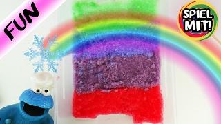 BUNTEN SCHNEE SELBER MACHEN MIT KRÜMELMONSTER ODER DOCH SCHLEIM SCHNEE? Rainbow Gelli Snow Deutsch