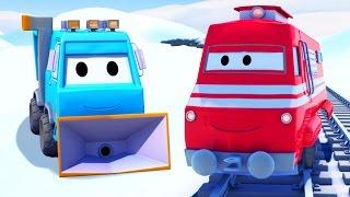 Troy der Zug und Der Schneepflug in Autopolis | Auto & Lastwagen Cartoons für Kinder