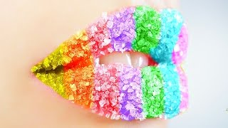 DIY RAINBOW LIP SCRUB! Different Flavors In Each Color!