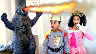 Bad Baby Shasha Princess KIDNAPPED By GODZILLA  - Shiloh the Knight, Prince Charming - Onyx Kids