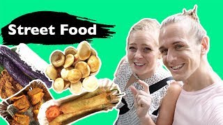 Americans Try STREET FOOD IN THE PHILIPPINES! 🇺🇸❤️🇵🇭(Manila vlog)