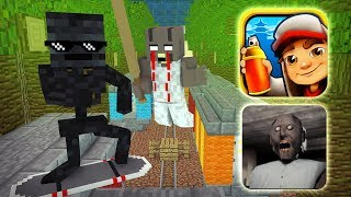 Monster School : GRANNY VS SUBWAY SURFERS GAME CHALLENGE - Minecraft Animation