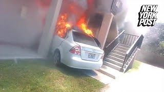 Man fills his car with propane and slams it into his ex-girlfriends apartment | New York Post