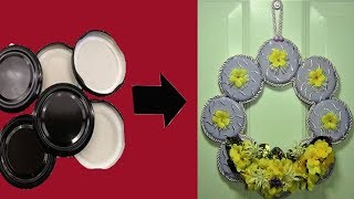 Kavanoz Kapaklarından Kapı Süsü | Turn Jar Lids into Door Decorations | Diy