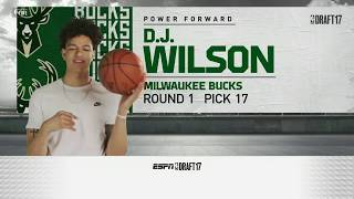 D.J. Wilson Drafted 17th Overall By Milwaukee Bucks in 2017 NBA Draft