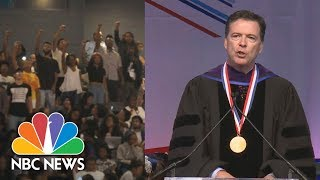 James Comey Listens, Responds As Howard University Protesters Drown Out Speech | NBC News
